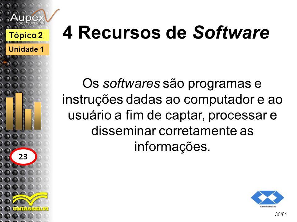 4 Recursos de Software Os softwares são programas e instruções dadas ao computador e ao usuário a fim de captar, processar e disseminar corretamente a