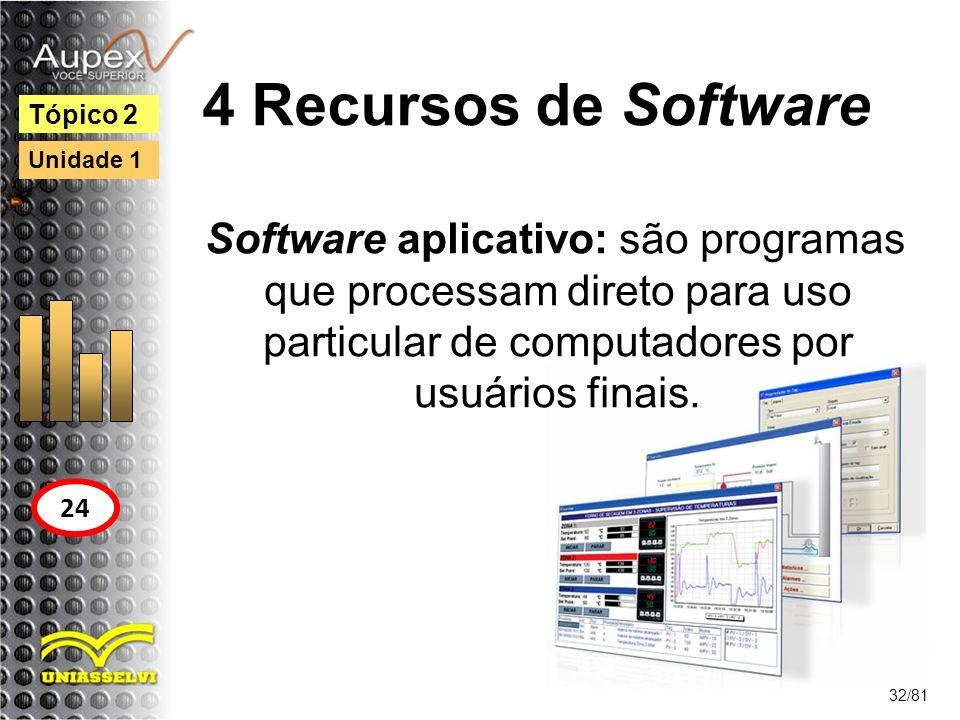 4 Recursos de Software Software aplicativo: são programas que processam direto para uso particular de computadores por usuários finais. 32/81 Tópico 2