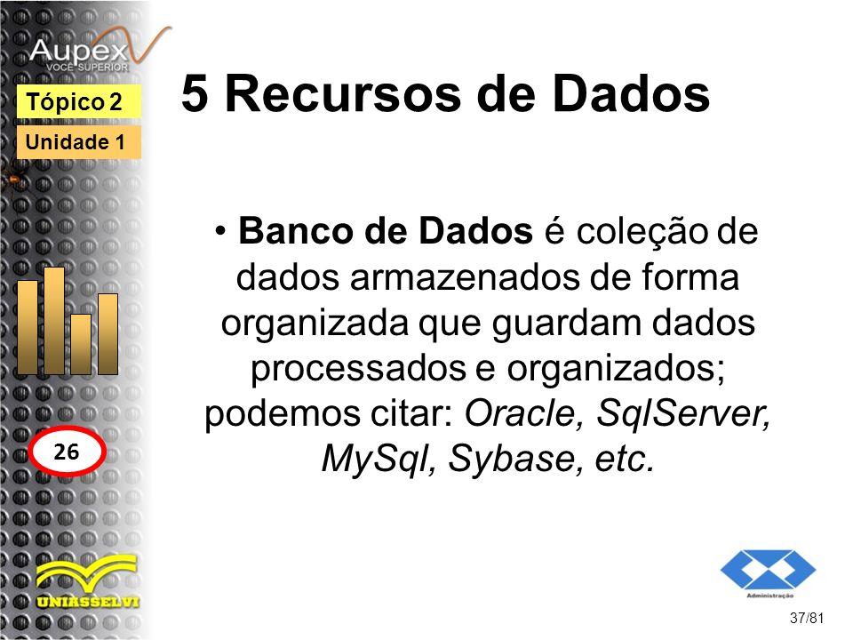 5 Recursos de Dados Banco de Dados é coleção de dados armazenados de forma organizada que guardam dados processados e organizados; podemos citar: Orac