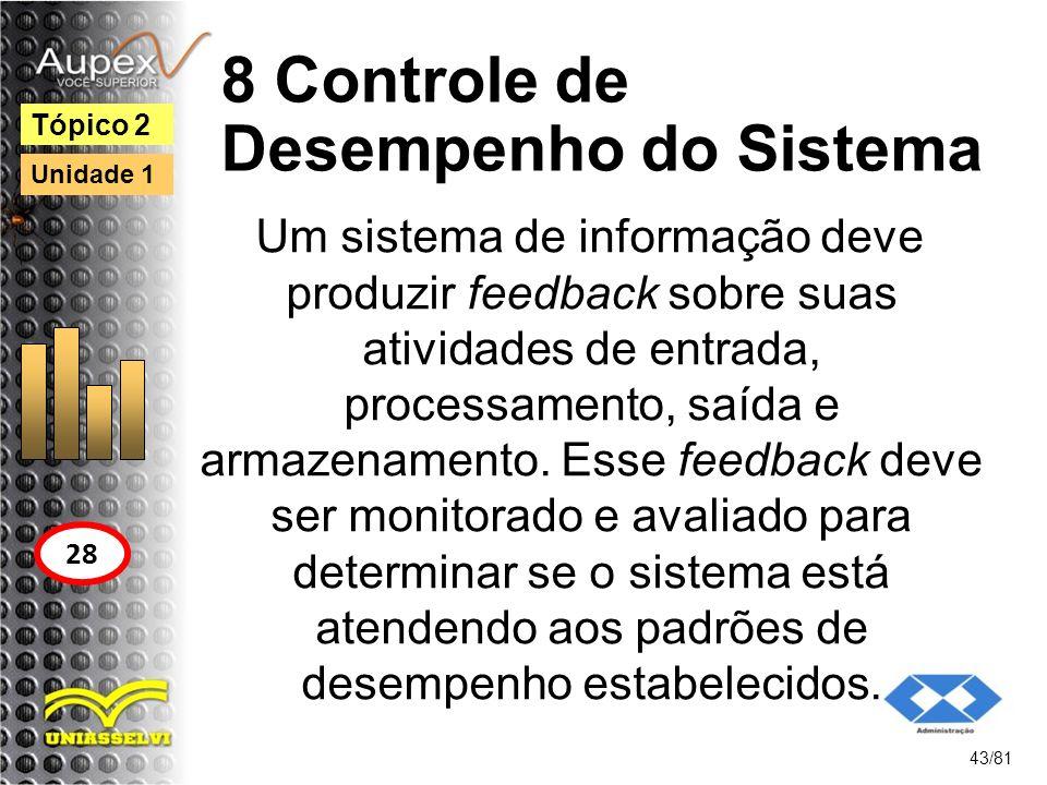 8 Controle de Desempenho do Sistema Um sistema de informação deve produzir feedback sobre suas atividades de entrada, processamento, saída e armazenam