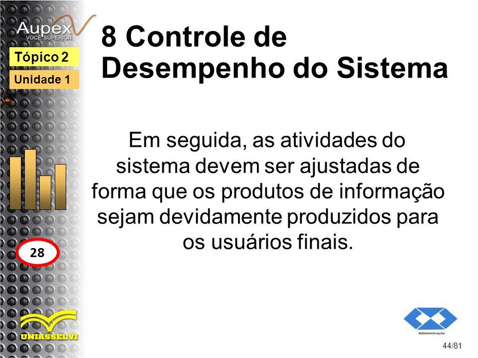 8 Controle de Desempenho do Sistema Em seguida, as atividades do sistema devem ser ajustadas de forma que os produtos de informação sejam devidamente