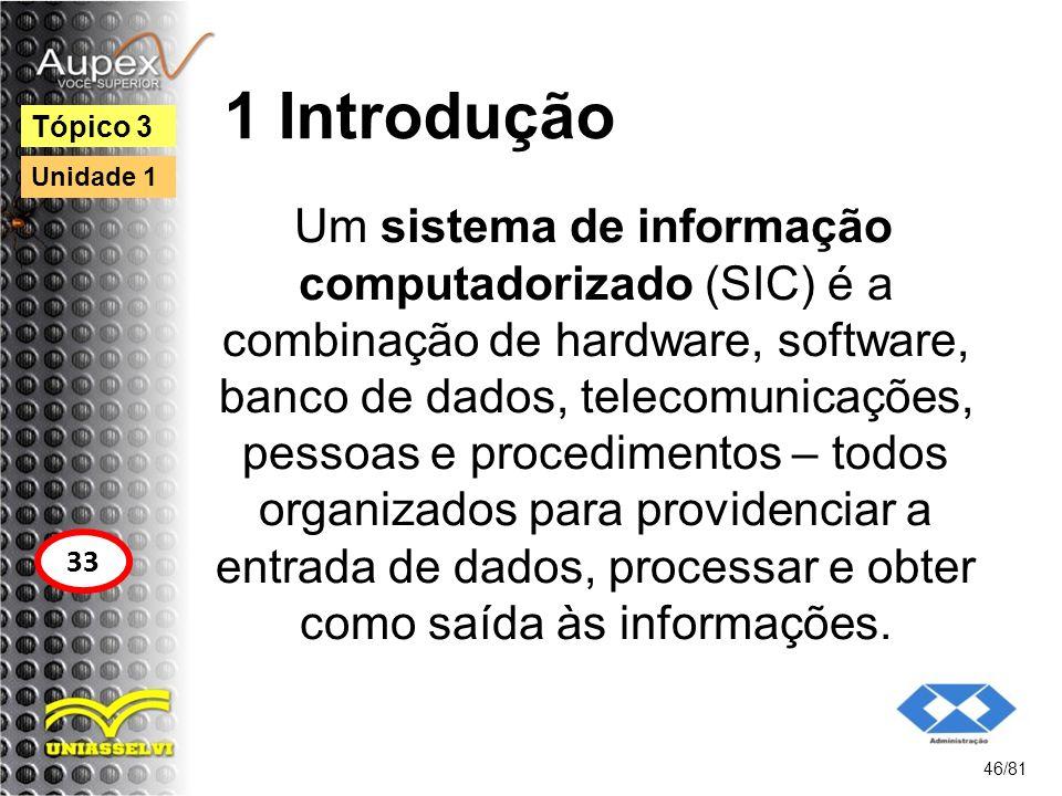 1 Introdução Um sistema de informação computadorizado (SIC) é a combinação de hardware, software, banco de dados, telecomunicações, pessoas e procedim