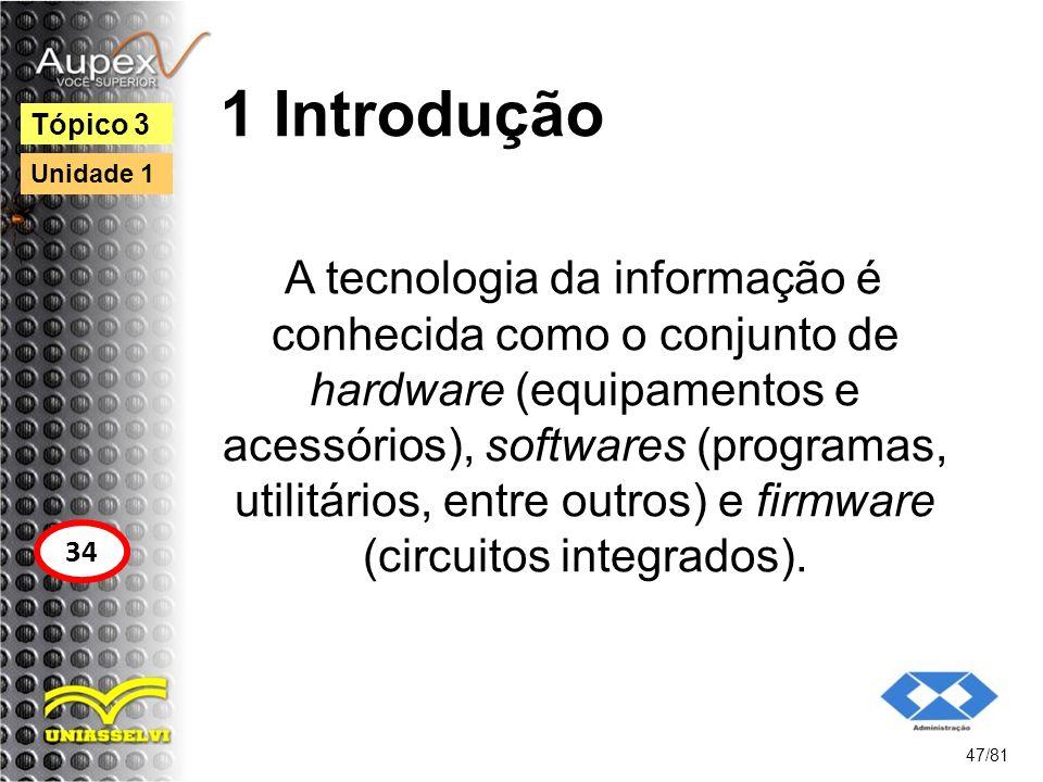 1 Introdução A tecnologia da informação é conhecida como o conjunto de hardware (equipamentos e acessórios), softwares (programas, utilitários, entre