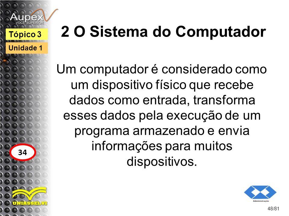 2 O Sistema do Computador Um computador é considerado como um dispositivo físico que recebe dados como entrada, transforma esses dados pela execução d