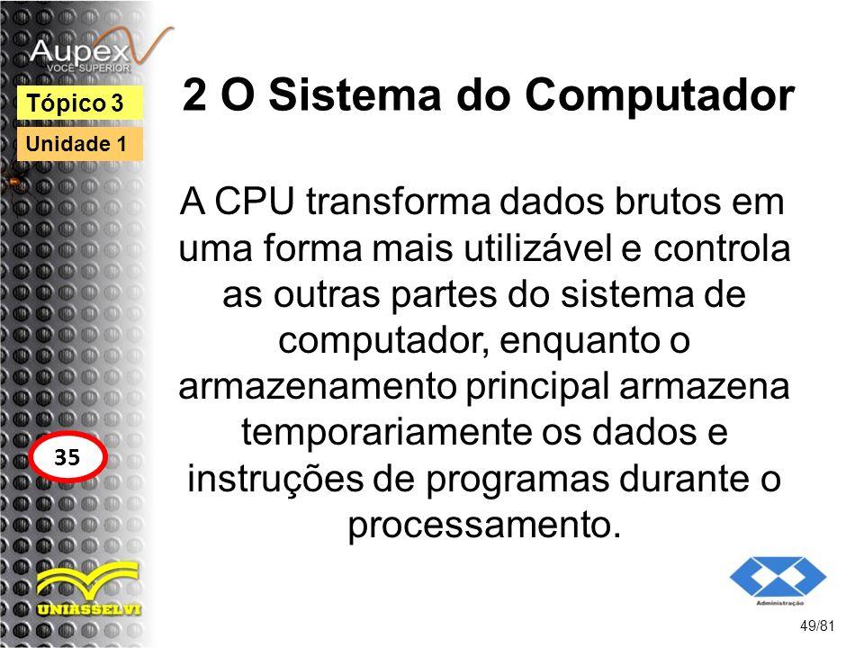 2 O Sistema do Computador A CPU transforma dados brutos em uma forma mais utilizável e controla as outras partes do sistema de computador, enquanto o