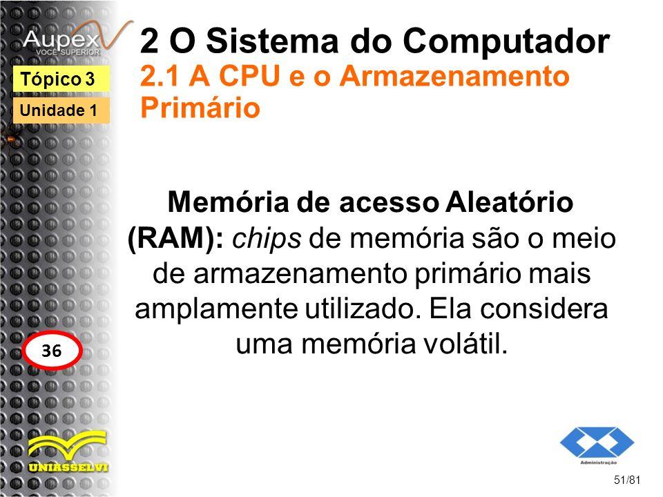 2 O Sistema do Computador 2.1 A CPU e o Armazenamento Primário Memória de acesso Aleatório (RAM): chips de memória são o meio de armazenamento primári
