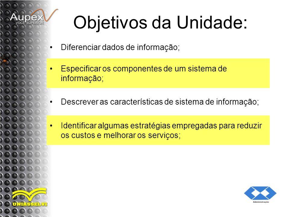 Objetivos da Unidade: Diferenciar dados de informação; Especificar os componentes de um sistema de informação; Descrever as características de sistema