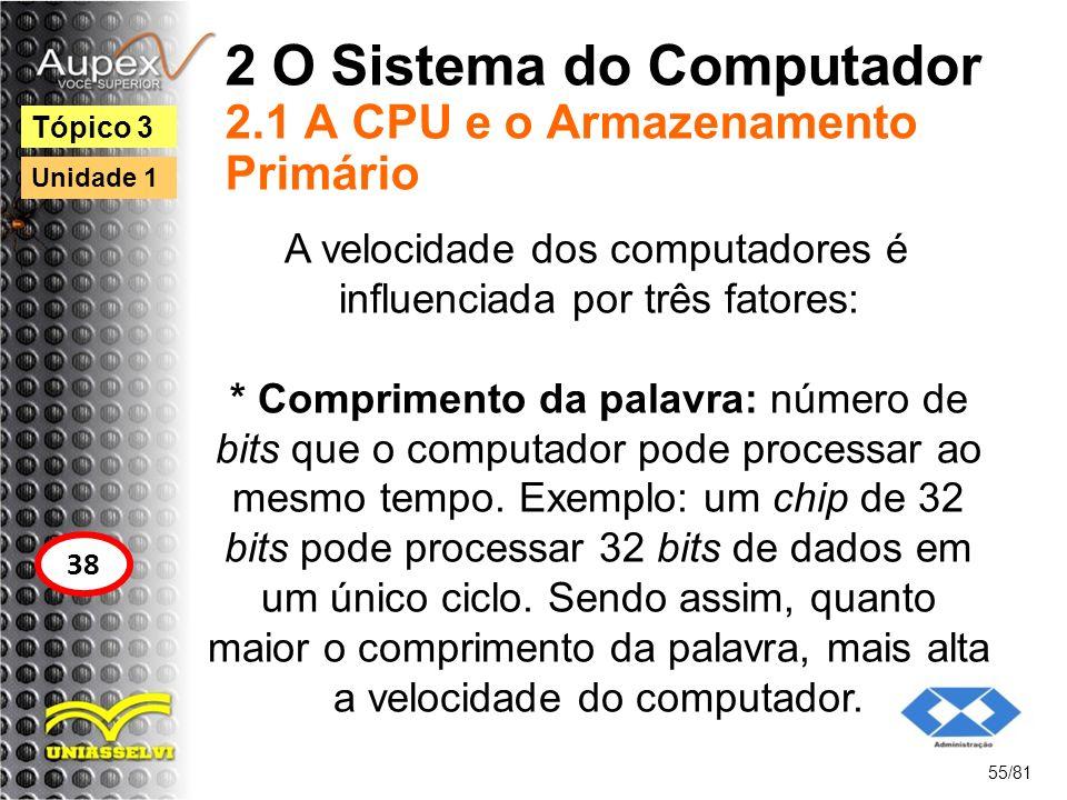 2 O Sistema do Computador 2.1 A CPU e o Armazenamento Primário A velocidade dos computadores é influenciada por três fatores: * Comprimento da palavra
