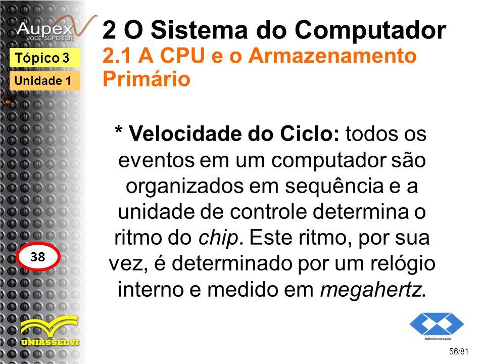 2 O Sistema do Computador 2.1 A CPU e o Armazenamento Primário * Velocidade do Ciclo: todos os eventos em um computador são organizados em sequência e