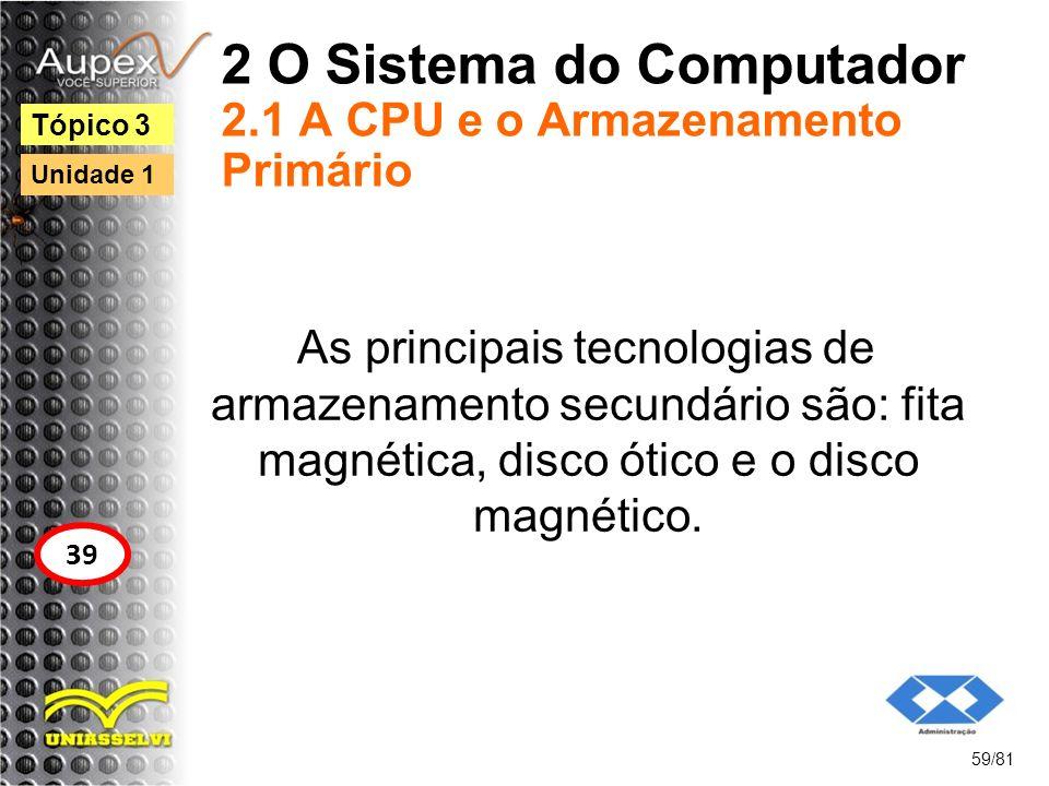 2 O Sistema do Computador 2.1 A CPU e o Armazenamento Primário As principais tecnologias de armazenamento secundário são: fita magnética, disco ótico