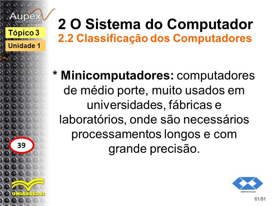 2 O Sistema do Computador 2.2 Classificação dos Computadores * Minicomputadores: computadores de médio porte, muito usados em universidades, fábricas