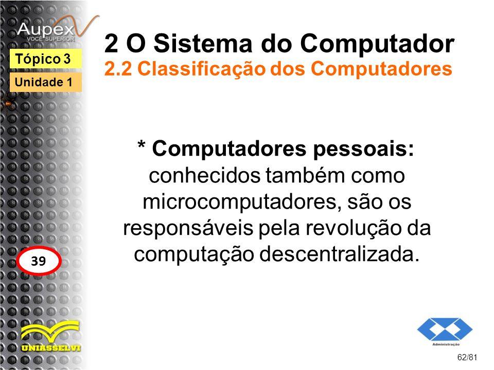 2 O Sistema do Computador 2.2 Classificação dos Computadores * Computadores pessoais: conhecidos também como microcomputadores, são os responsáveis pe