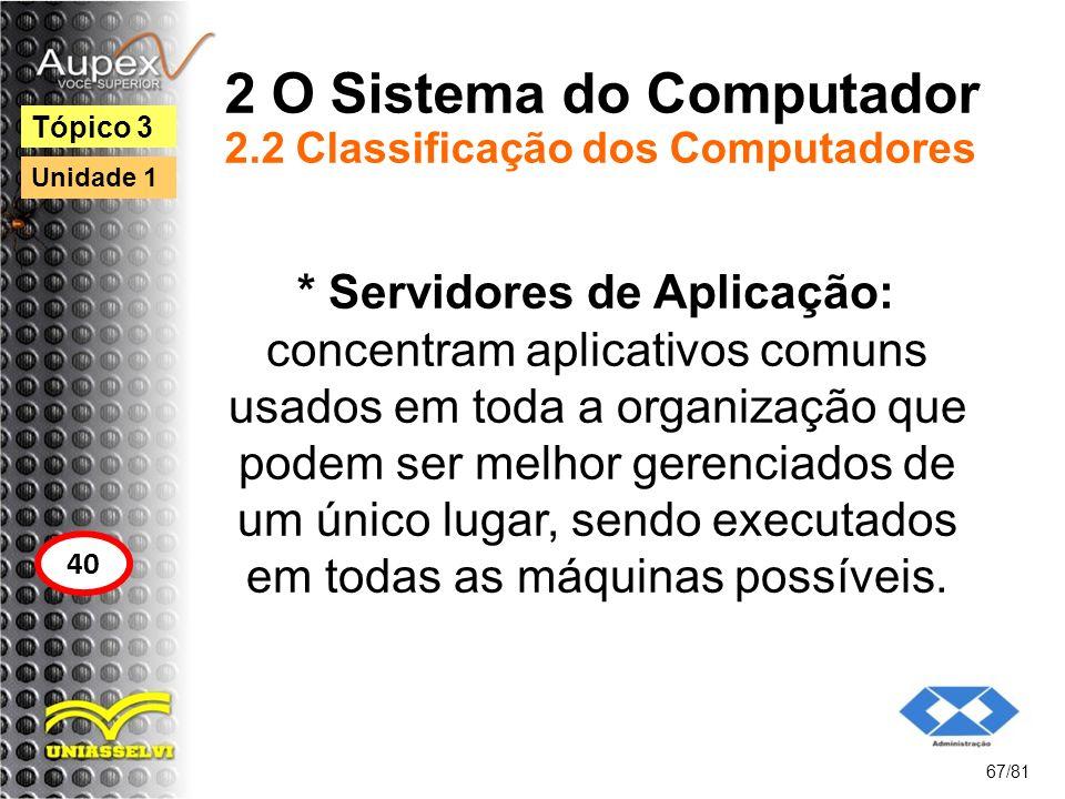 2 O Sistema do Computador 2.2 Classificação dos Computadores * Servidores de Aplicação: concentram aplicativos comuns usados em toda a organização que