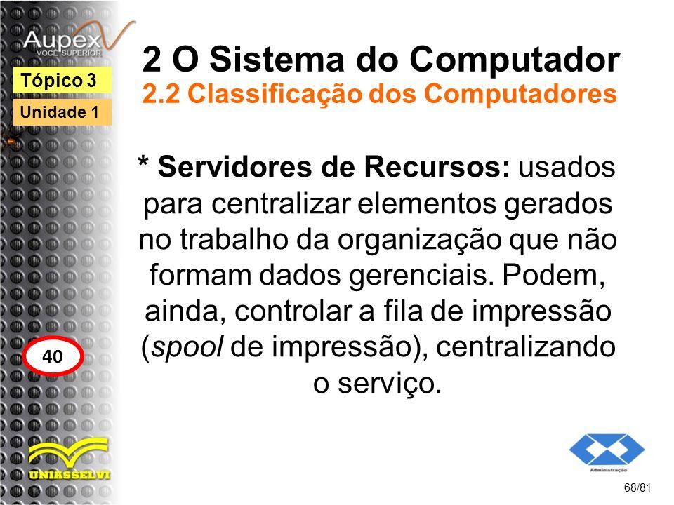 2 O Sistema do Computador 2.2 Classificação dos Computadores * Servidores de Recursos: usados para centralizar elementos gerados no trabalho da organi