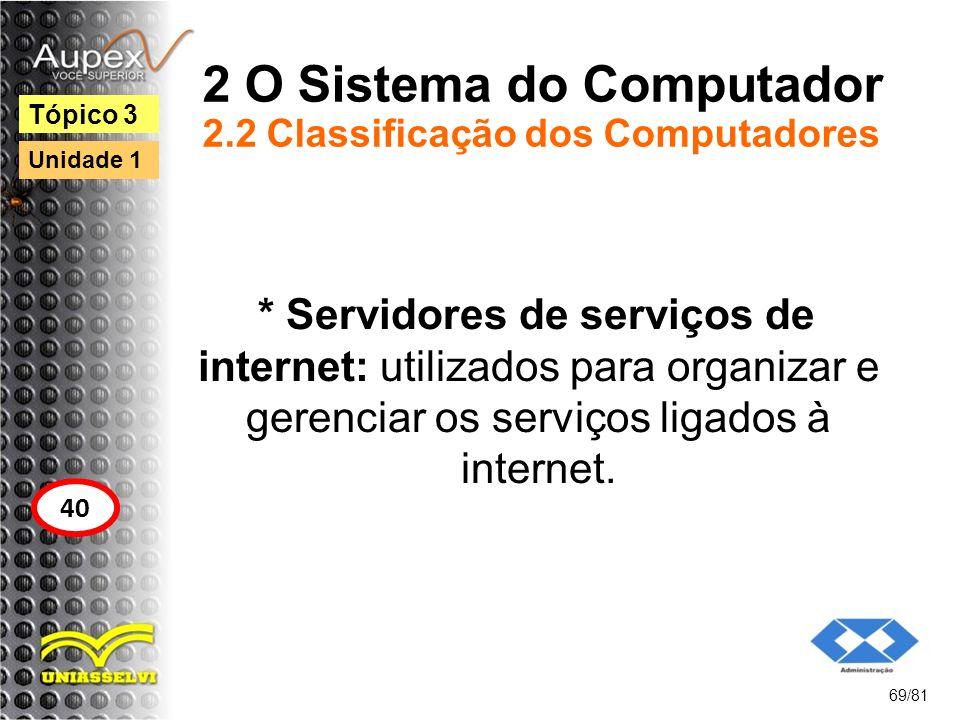 2 O Sistema do Computador 2.2 Classificação dos Computadores * Servidores de serviços de internet: utilizados para organizar e gerenciar os serviços l