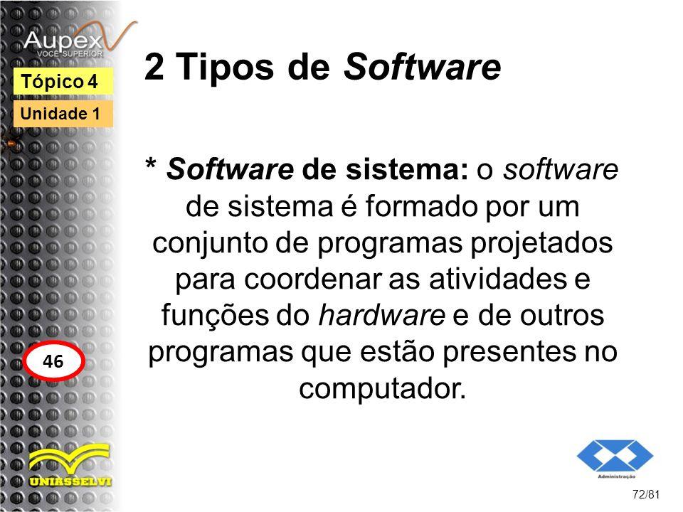 2 Tipos de Software * Software de sistema: o software de sistema é formado por um conjunto de programas projetados para coordenar as atividades e funç