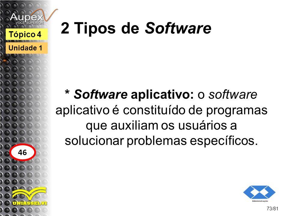 2 Tipos de Software * Software aplicativo: o software aplicativo é constituído de programas que auxiliam os usuários a solucionar problemas específico