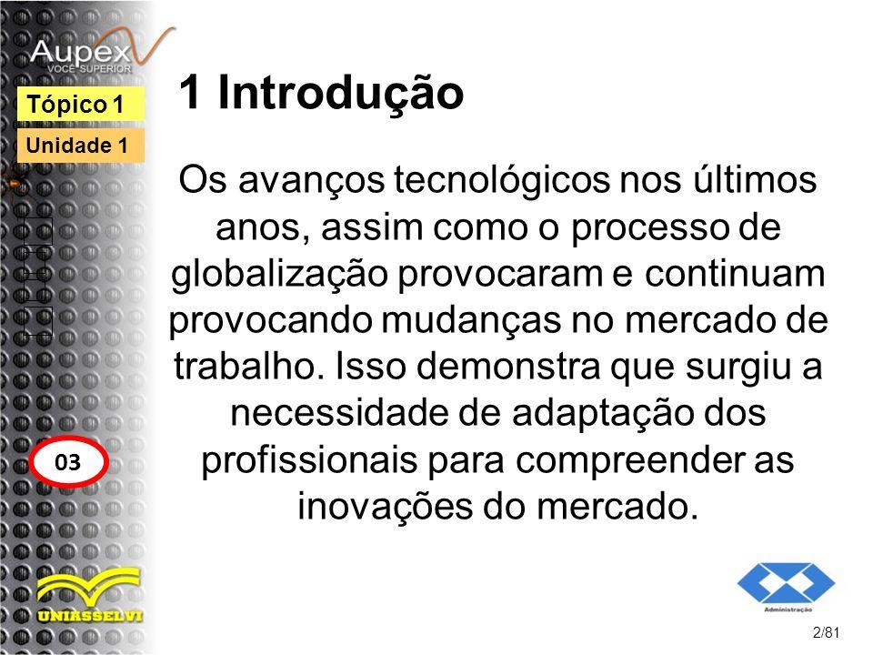 1 Introdução Os avanços tecnológicos nos últimos anos, assim como o processo de globalização provocaram e continuam provocando mudanças no mercado de