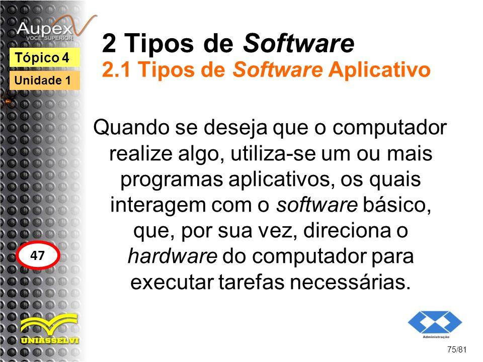 2 Tipos de Software 2.1 Tipos de Software Aplicativo Quando se deseja que o computador realize algo, utiliza-se um ou mais programas aplicativos, os q