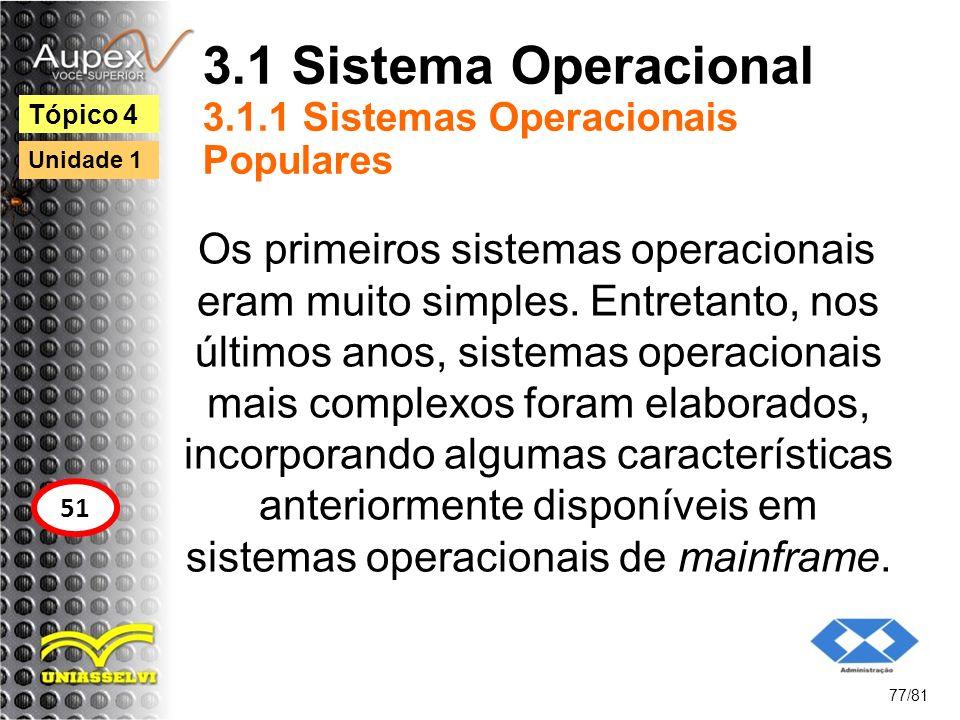 3.1 Sistema Operacional 3.1.1 Sistemas Operacionais Populares Os primeiros sistemas operacionais eram muito simples. Entretanto, nos últimos anos, sis