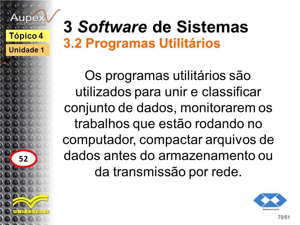 3 Software de Sistemas 3.2 Programas Utilitários Os programas utilitários são utilizados para unir e classificar conjunto de dados, monitorarem os tra