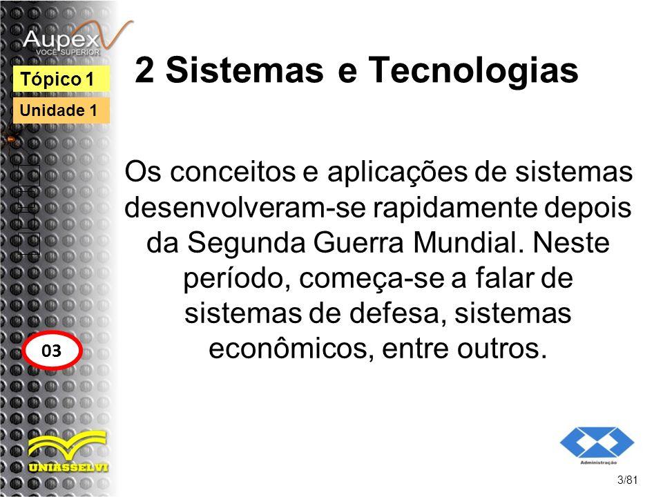 2 Sistemas e Tecnologias Os conceitos e aplicações de sistemas desenvolveram-se rapidamente depois da Segunda Guerra Mundial. Neste período, começa-se
