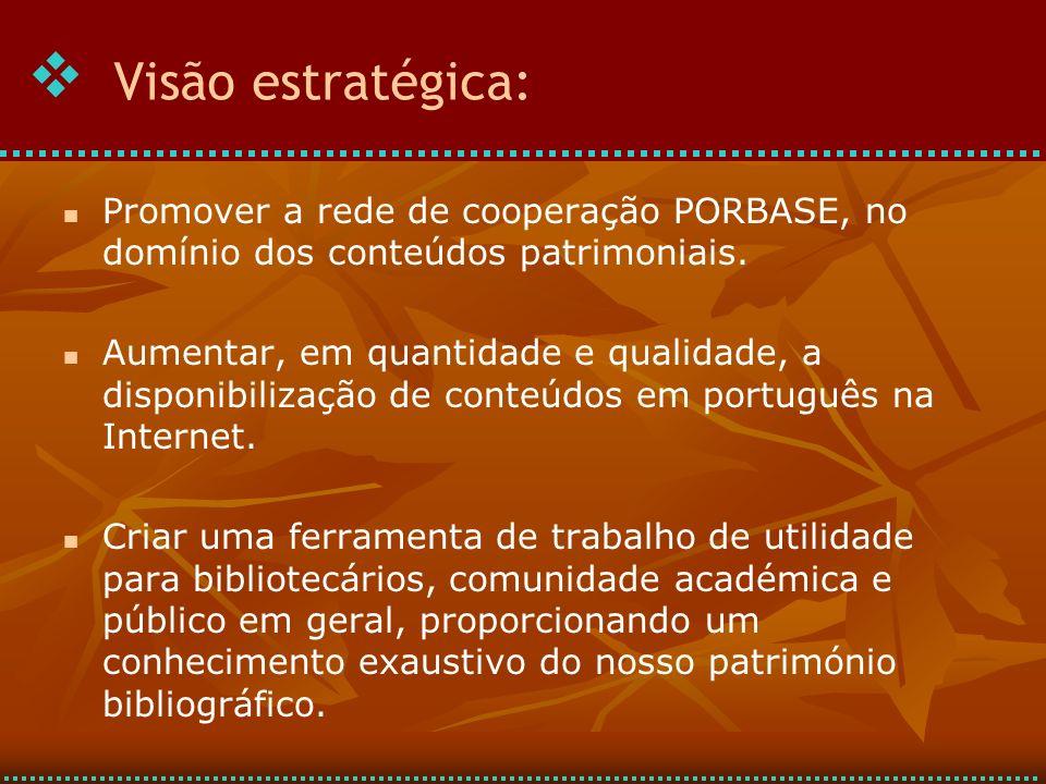 Promover a rede de cooperação PORBASE, no domínio dos conteúdos patrimoniais.