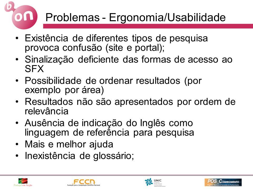 Problemas - Ergonomia/Usabilidade Existência de diferentes tipos de pesquisa provoca confusão (site e portal); Sinalização deficiente das formas de ac