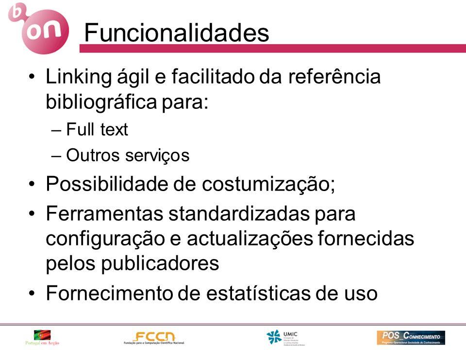 Funcionalidades Linking ágil e facilitado da referência bibliográfica para: –Full text –Outros serviços Possibilidade de costumização; Ferramentas standardizadas para configuração e actualizações fornecidas pelos publicadores Fornecimento de estatísticas de uso