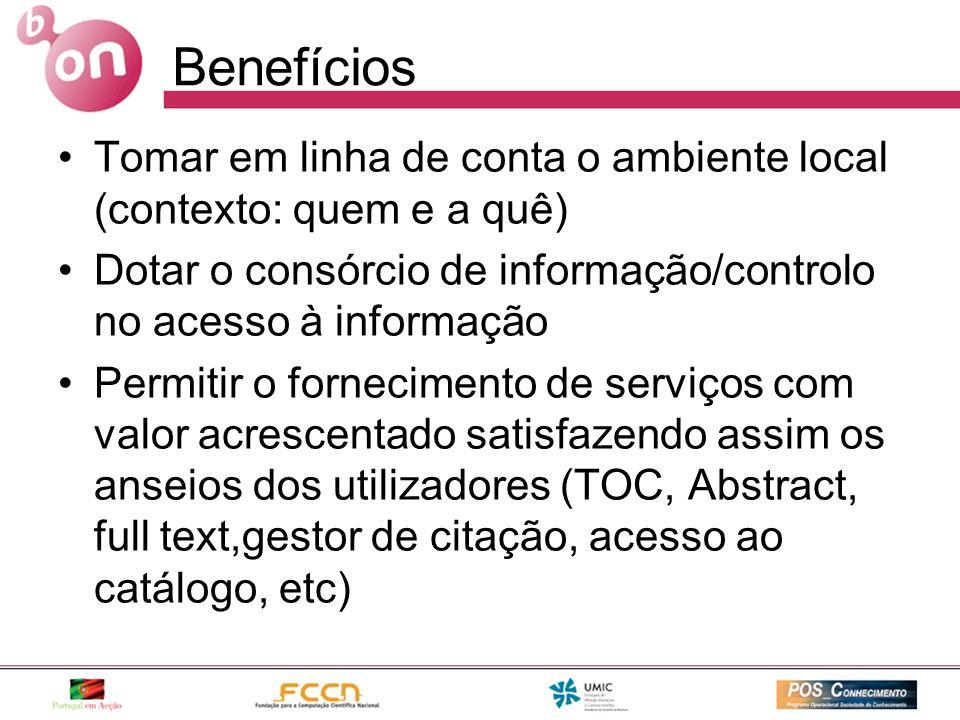 Benefícios Tomar em linha de conta o ambiente local (contexto: quem e a quê) Dotar o consórcio de informação/controlo no acesso à informação Permitir
