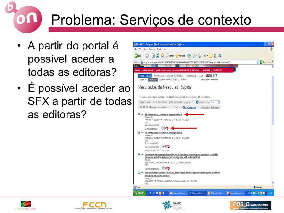 Problema: Serviços de contexto A partir do portal é possível aceder a todas as editoras? É possível aceder ao SFX a partir de todas as editoras?