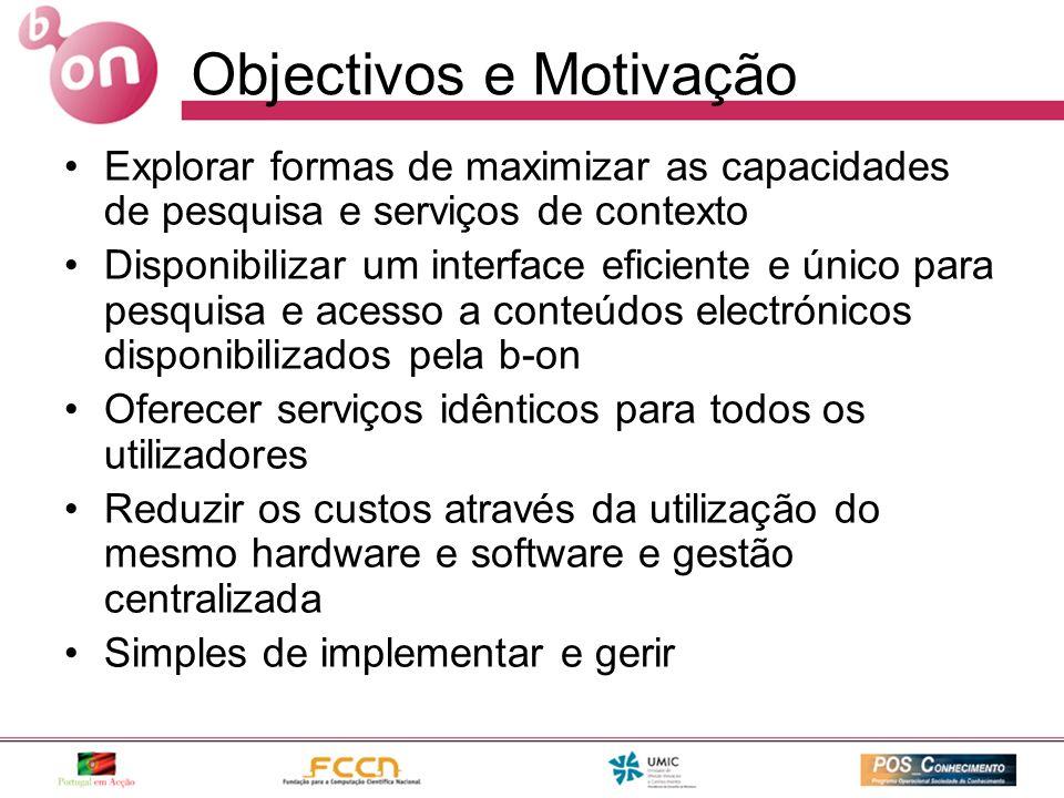 Objectivos e Motivação Explorar formas de maximizar as capacidades de pesquisa e serviços de contexto Disponibilizar um interface eficiente e único pa