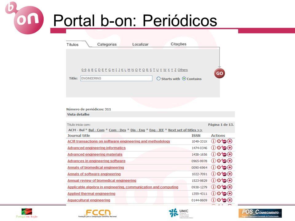 Expressão de pesquisa Portal b-on: Periódicos