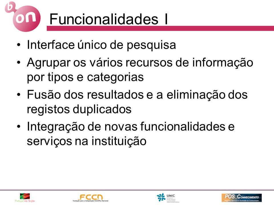 Funcionalidades I Interface único de pesquisa Agrupar os vários recursos de informação por tipos e categorias Fusão dos resultados e a eliminação dos registos duplicados Integração de novas funcionalidades e serviços na instituição