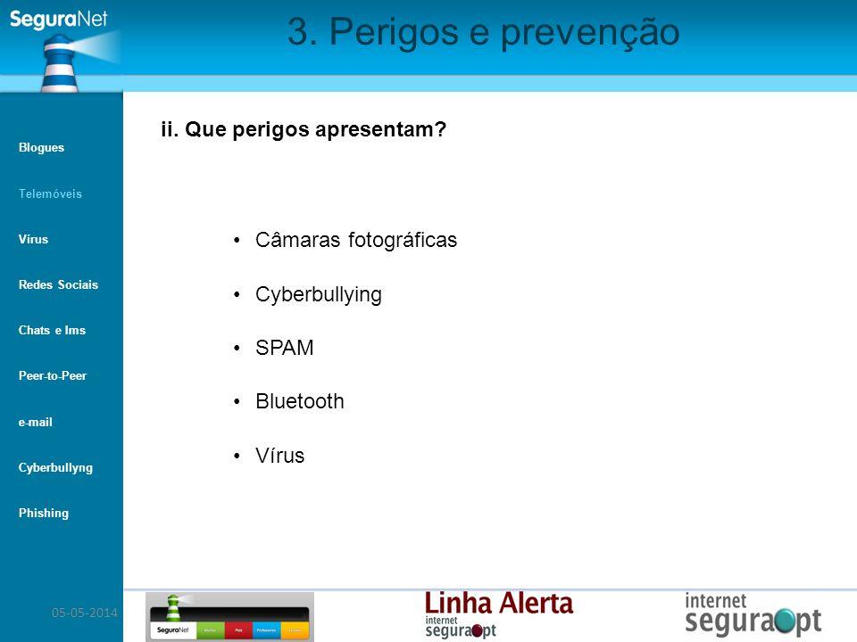 05-05-2014 3. Perigos e prevenção Câmaras fotográficas Cyberbullying SPAM Bluetooth Vírus ii. Que perigos apresentam? Blogues Telemóveis Vírus Redes S