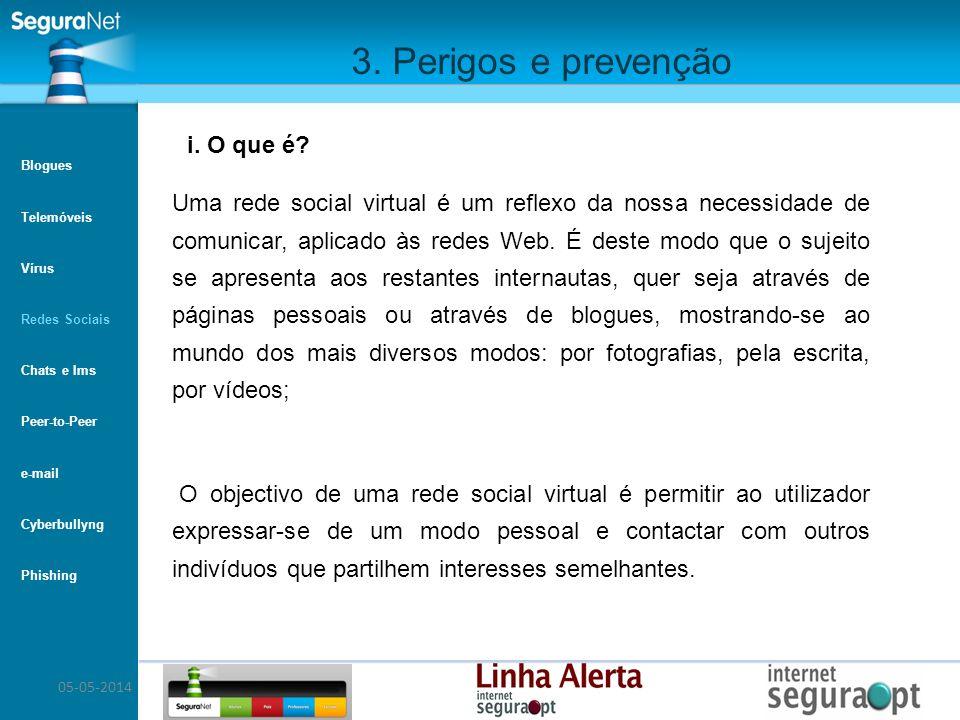 05-05-2014 3. Perigos e prevenção Uma rede social virtual é um reflexo da nossa necessidade de comunicar, aplicado às redes Web. É deste modo que o su
