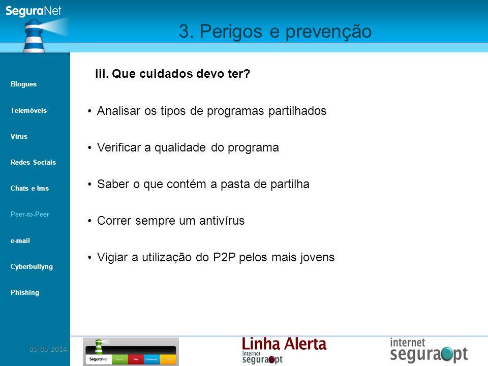 05-05-2014 3. Perigos e prevenção Analisar os tipos de programas partilhados Verificar a qualidade do programa Saber o que contém a pasta de partilha