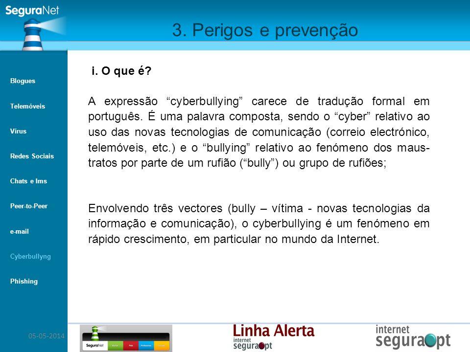 05-05-2014 3. Perigos e prevenção A expressão cyberbullying carece de tradução formal em português. É uma palavra composta, sendo o cyber relativo ao