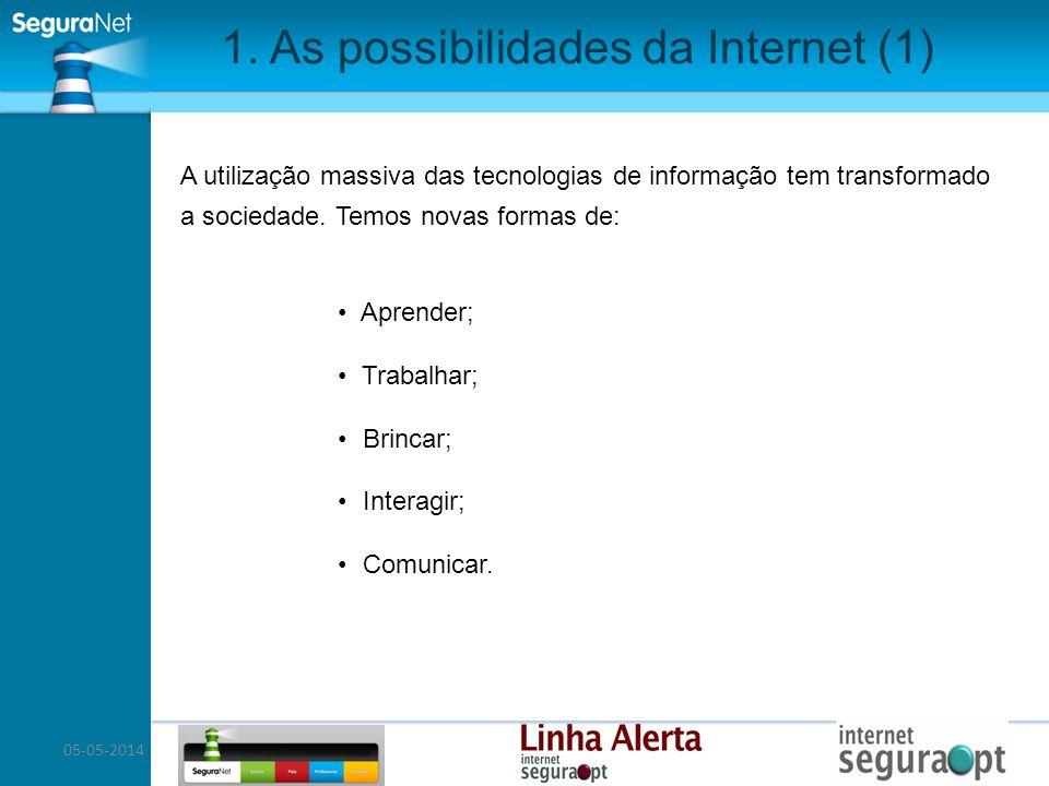 05-05-2014 1. As possibilidades da Internet (1) A utilização massiva das tecnologias de informação tem transformado a sociedade. Temos novas formas de