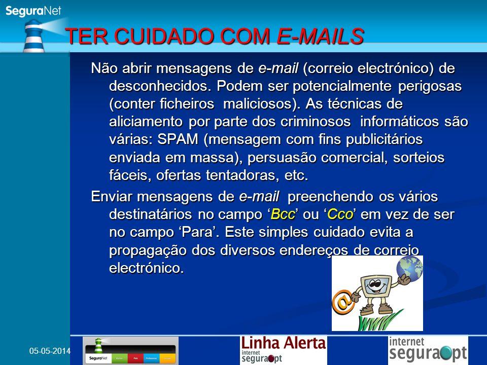 05-05-2014 Não abrir mensagens de e-mail (correio electrónico) de desconhecidos. Podem ser potencialmente perigosas (conter ficheiros maliciosos). As