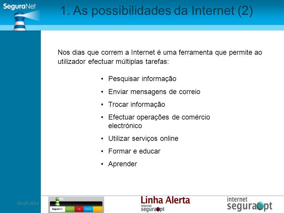 05-05-2014 1. As possibilidades da Internet (2) Nos dias que correm a Internet é uma ferramenta que permite ao utilizador efectuar múltiplas tarefas: