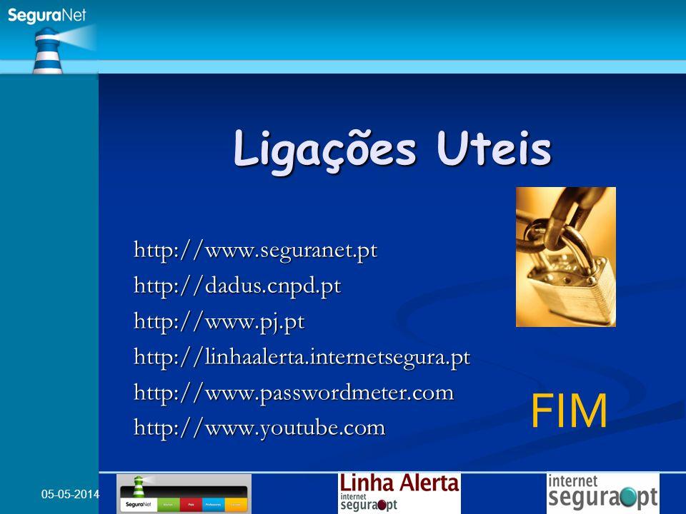 05-05-2014 http://www.seguranet.pt http://dadus.cnpd.pt http://www.pj.pt http://linhaalerta.internetsegura.pt http://www.passwordmeter.com http://www.youtube.com Ligações Uteis FIM