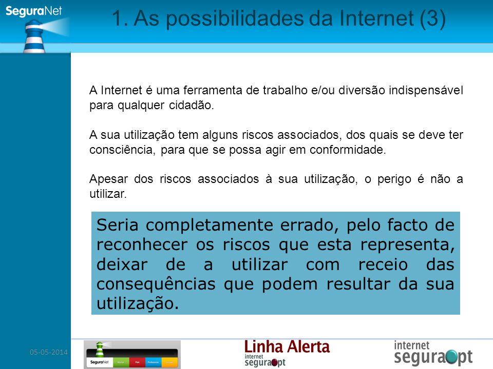 05-05-2014 1. As possibilidades da Internet (3) A Internet é uma ferramenta de trabalho e/ou diversão indispensável para qualquer cidadão. A sua utili