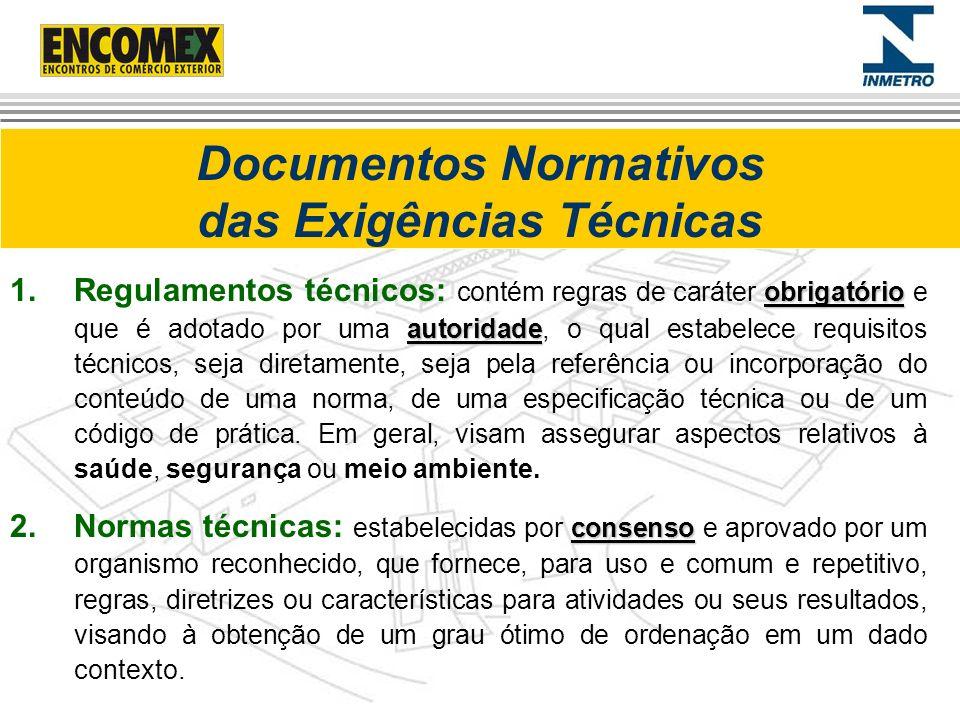 Documentos Normativos das Exigências Técnicas obrigatório autoridade 1.Regulamentos técnicos: contém regras de caráter obrigatório e que é adotado por