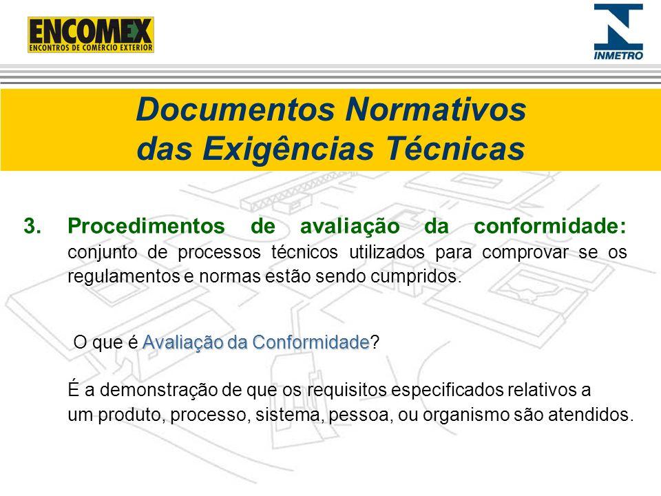 Documentos Normativos das Exigências Técnicas 3.Procedimentos de avaliação da conformidade: conjunto de processos técnicos utilizados para comprovar s