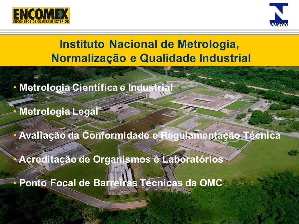 Metrologia Científica e Industrial Metrologia Legal Avaliação da Conformidade e Regulamentação Técnica Acreditação de Organismos e Laboratórios Ponto
