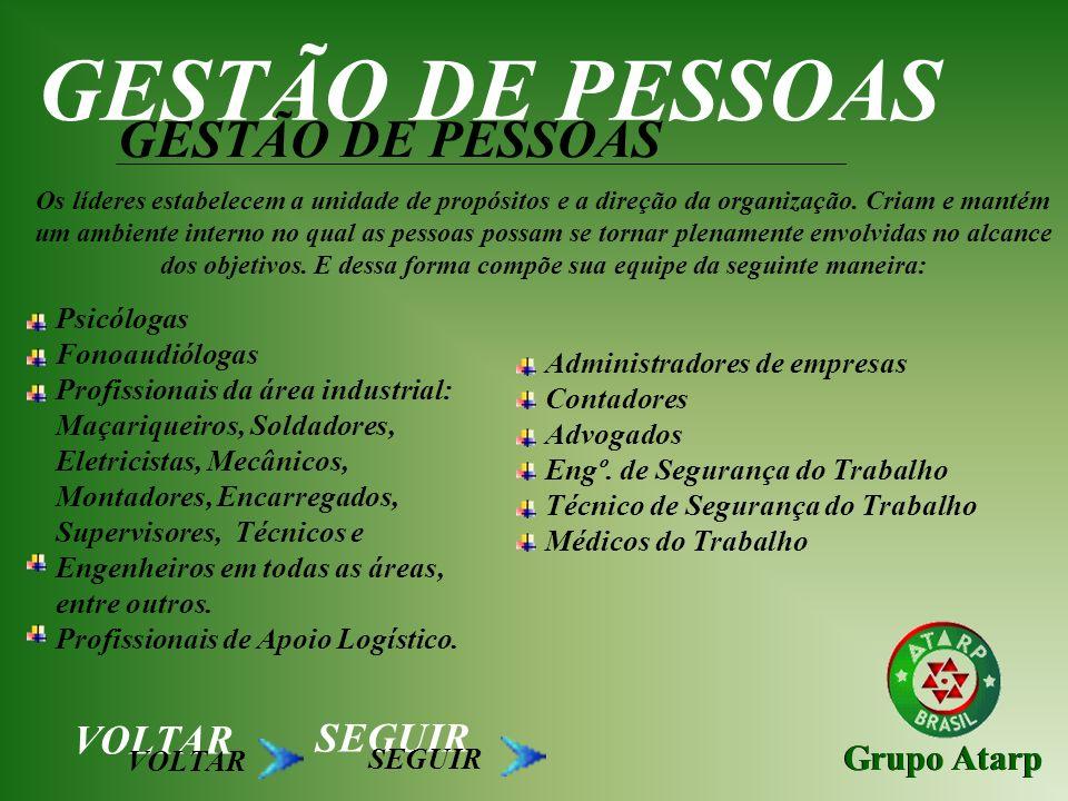 Grupo Atarp GESTÃO DE PESSOAS Os líderes estabelecem a unidade de propósitos e a direção da organização. Criam e mantém um ambiente interno no qual as