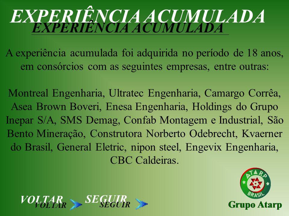 Grupo Atarp EXPERIÊNCIA ACUMULADA A experiência acumulada foi adquirida no período de 18 anos, em consórcios com as seguintes empresas, entre outras: