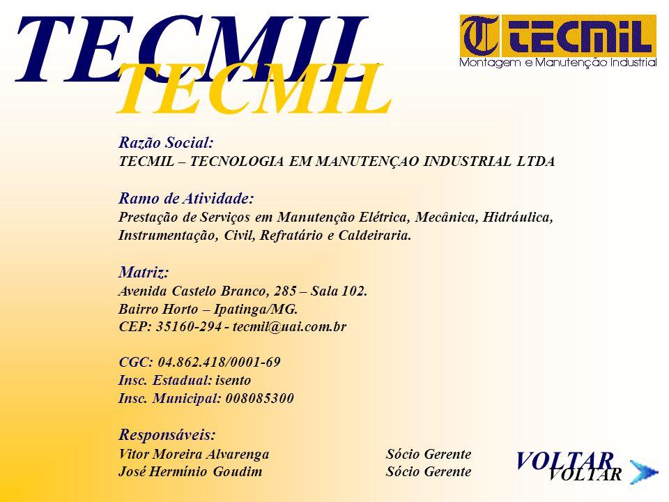 Razão Social: TECMIL – TECNOLOGIA EM MANUTENÇAO INDUSTRIAL LTDA Ramo de Atividade: Prestação de Serviços em Manutenção Elétrica, Mecânica, Hidráulica,