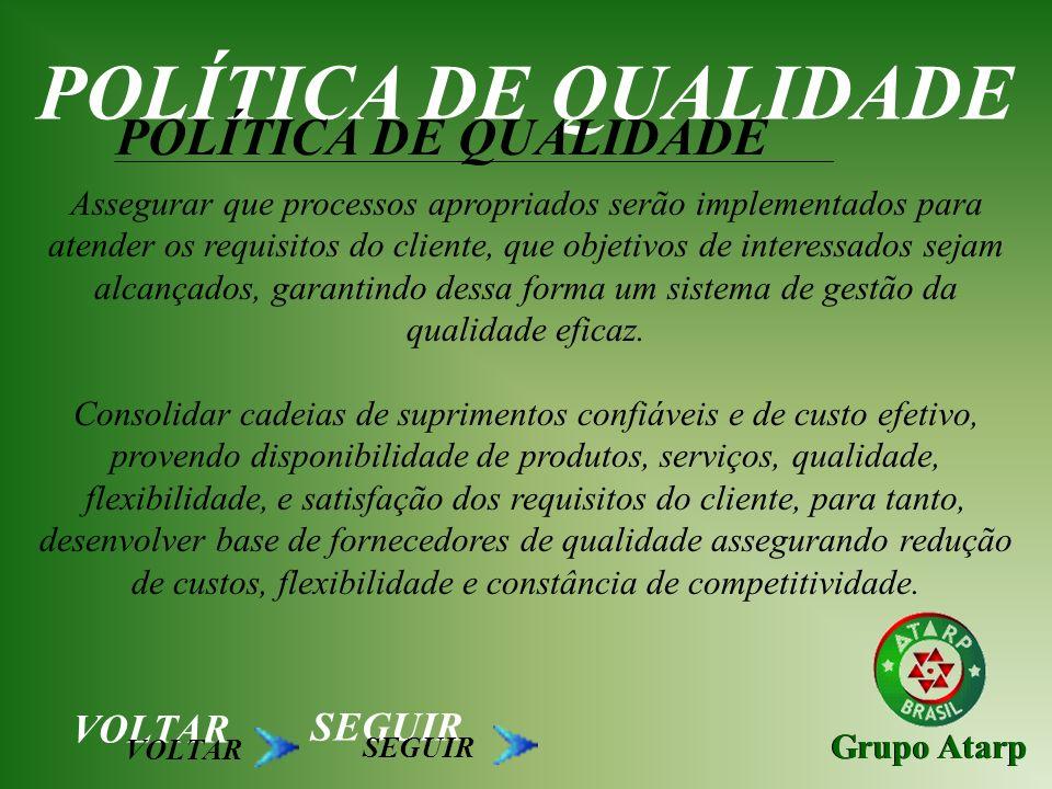 Grupo Atarp POLÍTICA DE QUALIDADE Assegurar em toda organização o foco no cliente, planejando as ações para melhoria do sistema de gestão da qualidade.